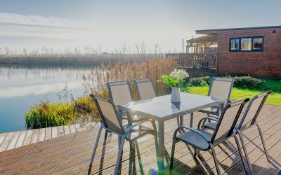 A luxury fishing lodge with a private hot tub?